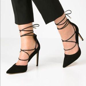 Sam Edelman Dayna Lace Up Black Suede Heels